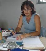 Carmen Díaz González, administradora del Atelier La Moda, en Caibarién